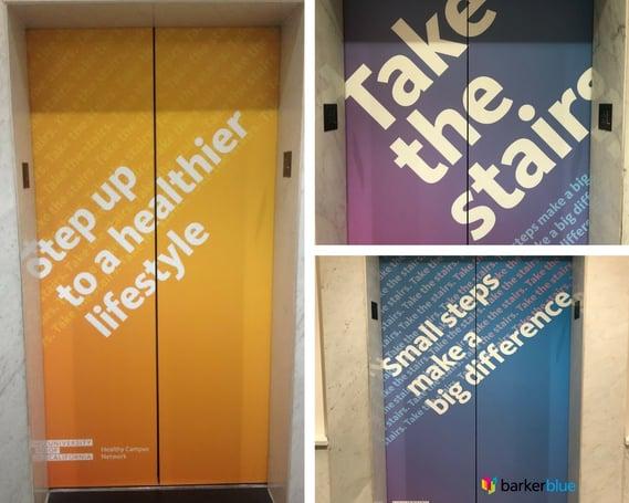 U of CA Healthy Campus Network Elevator Graphics